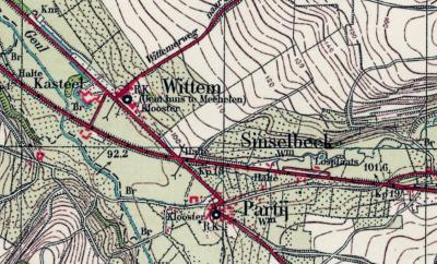 Op deze kaart uit de jaren dertig van de 20e eeuw ligt buurtschap Sinselbeek, gelegen aan de gelijknamige beek en aan beide zijden van Rijksweg N278, nog duidelijk los van het dorp Partij. (© www.kadaster.nl)