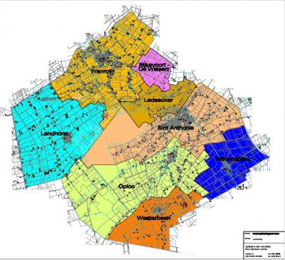 Kaart van de acht formele woonplaatsen (= zeven dorpen en een buurtschap) van de gemeente Sint Anthonis (© gemeente Sint Anthonis)