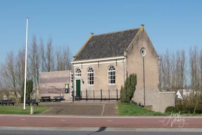 De vermoedelijk enige Dijksynagoge ter wereld staat in Sliedrecht. In 2002 is hij steentje voor steentje afgebroken en weer opgebouwd, omdat hij in de weg stond bij de dijkversterkingswerkzaamheden. Zie verder het kopje Bezienswaardigheden. ©Joost Verweij