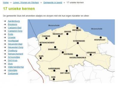 De gemeente Sluis stelt op haar site dat ze 17 kernen heeft. Maar dat zijn er 18; ze zijn het idyllische dorpje Sint Anna ter Muiden vergeten. Omdat dat dorpje geen eigen postcode heeft, wordt het vaak in allerlei situaties vergeten. Zo ook hier dus...