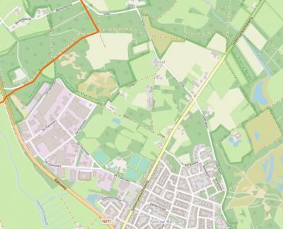 Buurtschap Smal ligt rond de gelijknamige weg, direct N van het dorp Nieuw Bergen. (© https://www.openstreetmap.org)