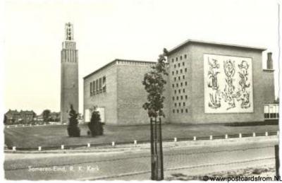 Someren-Eind, 1989, de RK kerk O.L. Vrouw ten Hemelopneming of Lambertuskerk uit 1957 is in 2013 gesloopt i.v.m. fusie van de RK kerken in de gemeenten Someren en Asten. Alleen de kerktoren is blijven staan.