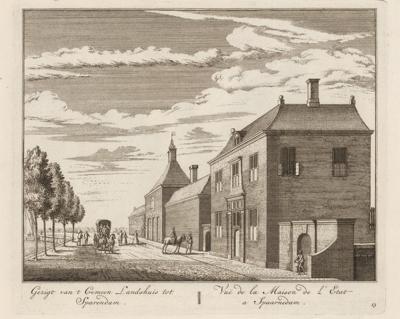Het fraaie Gemeenlandshuis van Rijnland aan de Spaarndammerdijk in Spaarndam uit 1641, hier op een prent uit 1728 van Abraham Rademaker. Op Open Monumentendag is het complex te bezichtigen.