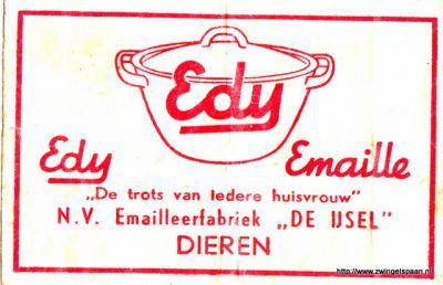 Spankeren, emailleerfabriek De Ysel stond in de volksmond bekend als 'de EDY' en was tot 1975 een grote werkgever in het dorp. Later werd het De IJsel, wellicht heeft deze ook nog De IJssel geheten (na begin 20e eeuw wordt de rivier met -ss- gespeld).