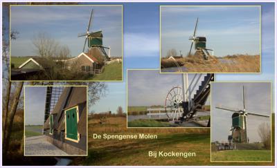 Collage van de in goede staat verkerende Spengense Molen in de buurtschap Spengen. (© Jan Dijkstra, Houten)