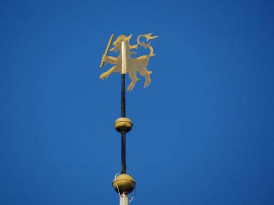 Het torentje van de Andreaskerk in Spijk heeft als windvaan een leeuw met maarschalk- of admiraalstaf. Het betreft de leeuw van Ubbena, een vroeger geslacht (met borg) in dit dorp en omgeving. (© Harry Perton)