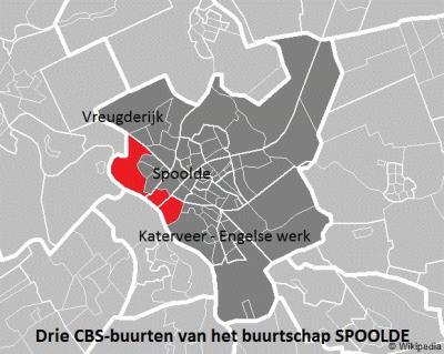 De buurtschap Spoolde omvat 3 CBS-buurten: van N naar Z zijn dat Vreugderijk, Spoolde en Katerveer-Engelse Werk.