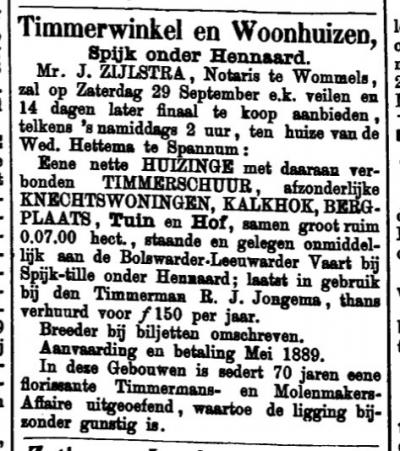Aankondiging van de verkoop van een boerderij in Spyk in 1888 (uit: Leeuwarder Courant, 21-9-1888)