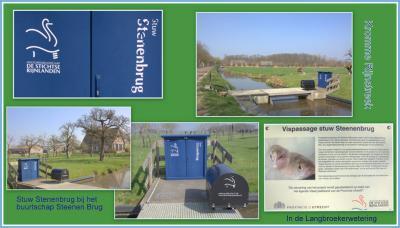 In 2013 is de stuw in buurtschap Steenen Brug vernieuwd en onder meer voorzien van een bijzonder type vispassage. Op dit informatiepaneel bij de stuw kan de voorbijganger lezen wat de functie van deze vispassage is. (© Jan Dijkstra, Houten)