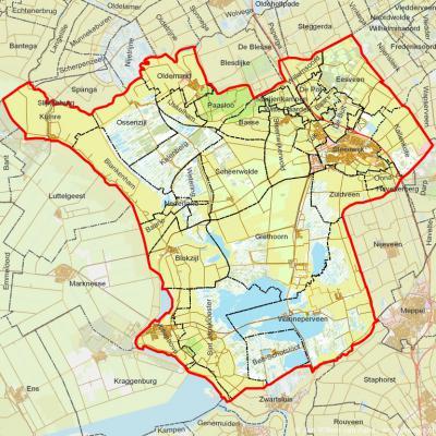 De in 2001 opgerichte gemeente Steenwijkerland met alle officiële woonplaatsen voor postcodeboek en BAG met hun grenzen. Daarnaast omvat de gemeente nog een 20-tal buurtschappen die geen officiële woonplaatsen zijn.