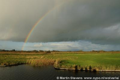 Steenwijkerland, regenboog in het verbindingsgebied tussen de Wieden en de Weerribben