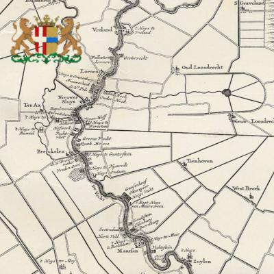 Op deze mooie oude kaart komt het grondgebied van de huidige gemeente Stichtse Vecht goed uit de verf, met de Vecht prominent in het landschap, en de daaraan gelegen dorpen en de vele buitenplaatsen.