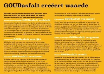 Het project GOUDasfalt t.b.v. de herbestemming van de vroegere asfaltcentrale in buurtschap Stolwijkersluis is letterlijk en figuurlijk goud waard. Hier kun je lezen waarom dat zo is.