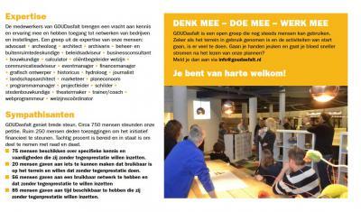 Een grootschalig, complex project als GOUDasfalt in Stolwijkersluis kan alleen een succes worden als tientallen vrijwilligers, met ieder hun eigen kwaliteiten en netwerken, er samen de schouders onder zetten. En dat doen ze ook. Hier zie je hoe dat werkt.