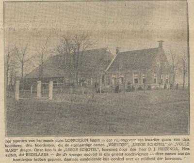 In het Nieuwsblad van het Noorden d.d. 20-4-1929 vinden we op de pagina 'Praatjes bij plaatjes' een foto van boerderij Leege Schotel, met het mooie verhaal over de bedelaars.