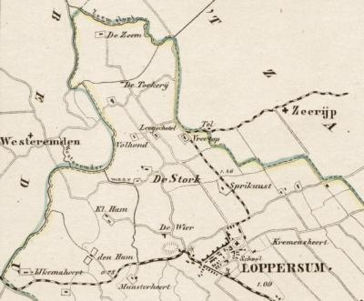 Detail van de gemeentekaart van J. Kuijper (1868). Op het eerste gezicht rare boerderijnamen rondom die van hoeve Stork (Volle Hand - hier verbasterd tot Volhond -, Leegschotel, Vreetop en Spriknust). Maar we verklaren ze in de tekst op deze pagina.