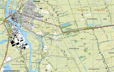 In en rond de ZO van Hasselt gelegen buurtschap Streukel is sprake van maar liefst 9 waterlopen, die wij beschrijven in het hoofdstuk Landschap etc. en die je op deze kaart kunt zien liggen. (© www.kadaster.nl)