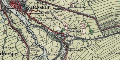 Door de naoorlogse uitbreidingen van Hasselt is deze tegen de buurtschap Streukel aan komen te liggen. Oorspronkelijk lag deze buurtschap echt 'in the middle of nowhere'. Op deze kaart uit ca. 1900 is dat goed te zien. (© Kadaster)
