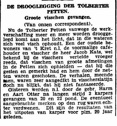 Artikel uit het Nieuwsblad uit 1932 waarin melding wordt gemaakt van de drooglegging van de Tolberter Petten en de eenmalige overvloedige visvangst - door mannen uit buurtschap 't Kret - waarmee die gepaard ging.