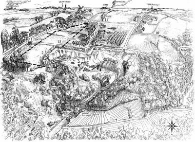 Tekening als illustratie bij een wandelroute rond groeve 't Rooth, bedoeld om mensen te informeren over en bewust te maken van de dreigende verwoesting van het landschap nabij het beschermd dorpsgezicht Gasthuis. Zie verder het kopje Beeld.
