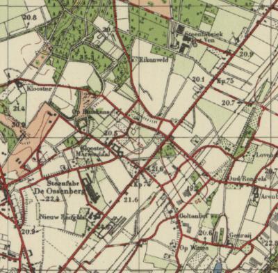 Op deze kaart uit ca. 1950 zien we nog geen kern 't Ven, die ontstaat pas in de jaren daarna, in het kwadrant linksonder. Rechtsbovenin zien we steenfabriek Het Ven aan de Weselseweg, waar tegenwoordig een Asielzoekerscentrum (AZC) is gevestigd.