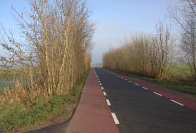 Als je vanuit het W aan het eind van de buurtschap Teckop de Hollandse Kade oversteekt, kom je op het onbebouwde deel van de weg Teckop, op grondgebied van het dorp Kockengen. Daar is gelijk een heel ander wegdek. (© Jan Dijkstra, Houten)