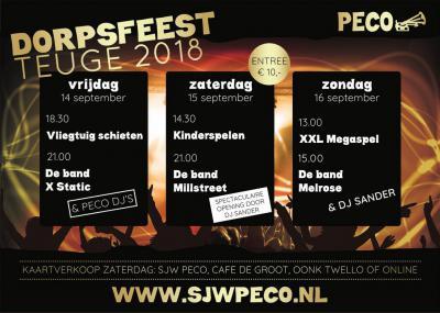 Dorpsfeest Teuge (weekend in september) is drie dagen lang overdag allerlei sport- en spelactiviteiten voor jong en ouder, en iedere avond feest met goede live bands en/of DJ's.