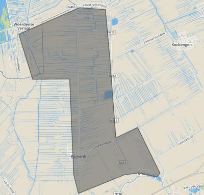Kaart van de gem. Kamerik-Houtdijken, zoals die van 1818 t/m 7-9-1857 heeft bestaan. ZO ligt buurtschap Houtdijk, ZW dorp Kamerik met N daarvan Kanis. In het N de polder Teylingen, met in het NW buurtschap Teylingen en in het NO buurtschap Oud-Kamerik.