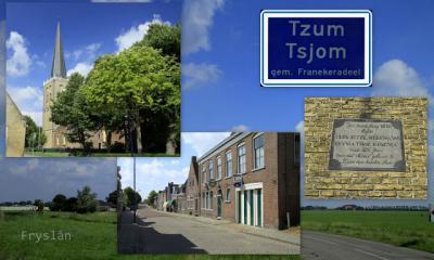 Tzum, collage van dorpsgezichten (© Jan Dijkstra, Houten)