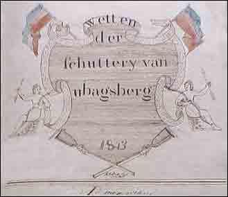 Tekening van pastoor J.J. Dircks in het schuttersboek van Schutterij St. Hubertus in Ubachsberg, bij de oprichting in 1843.