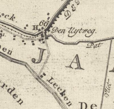 De nederzetting Uitweg, op de kaart van de Lopikerwaard van Hattinga uit 1771