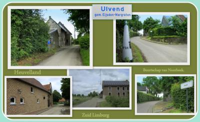 Ulvend, collage van buurtschapsgezichten (© Jan Dijkstra, Houten) De buurtschap Ulvend ligt deels in Nederland, deels in België. De landsgrens loopt er midden door de weg.
