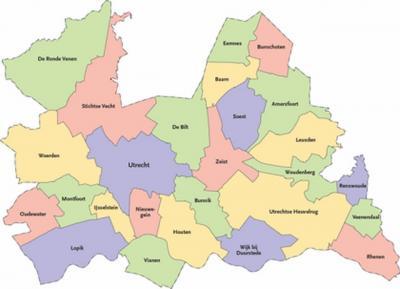 T/m 2018 was de provincie Utrecht in deze 26 gemeenten verdeeld. In 2019 gaat de gemeente Vianen op in de nieuwe gemeente Vijfheerenlanden, die ook onderdeel wordt van de provincie Utrecht. (© Provincie Utrecht)