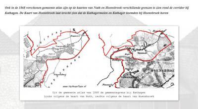 Op de gemeentekaarten van 1868 is goed de smalle corridor te zien waarmee Nuth en Vaesrade d.m.v. de grenscorrectie met Hoensbroek met elkaar verbonden zijn. D.w.z. het rechterkaartje is correct, het linkerkaartje niet helemaal. (© idem als hierboven)