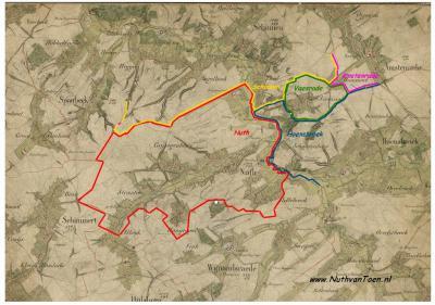 Op deze kaart is ingetekend hoe de situatie was vóór 1822: de gemeenten Nuth en Vaesrade grensden net niet aan elkaar: daar zat nog een strook grond tussen die toebehoorde aan de gemeenten Schinnen en Hoensbroek (© http://nuthsverleden.blogspot.nl)