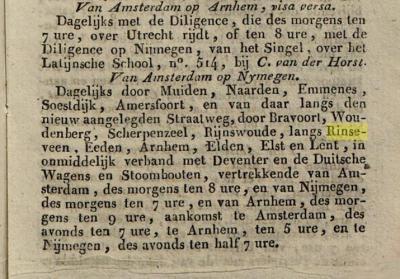 Tot in de loop van de 19e eeuw waren spellingen van plaatsnamen nogal eens inconsequent en schreef men het op zoals het klonk. Zo heeft Veenendaal ook Rhenenseveen geheten, en heet het hier, in een reglement voor de postkoetsen uit 1834, Rinseveen.