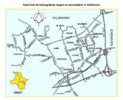 Stichting Historisch Erfgoed Veldhoven (SHEV) heeft een kaart gemaakt waarop de belangrijkste wegen, wijken, buurten en (vroegere) dorpen van de huidige gemeente Veldhoven duidelijk staan aangegeven. (© www.shev.dse.nl)