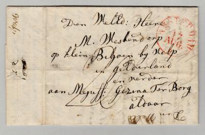 Het bekendste monumentale object van Velp is landgoed Biljoen, met maar liefst 25 rijksmonumenten. Afbeelding: brief van Nigtevecht naar (Klein) Biljoen, 1833. (© René Hillesum Filatelie / www.filatelist.com)