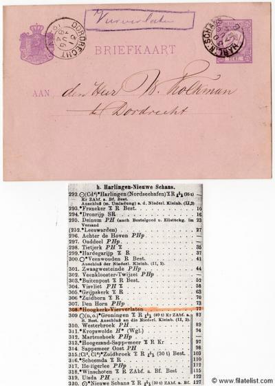 Vierverlaten had een halte aan de spoorlijn Harlingen-Nieuweschans. Als daar post op de trein werd gedaan, diende dat te worden afgestempeld met een haltestempel Vierverlaten. Hier een zeldzaam handgeschreven halte'stempel' Vierverlaten uit 1884.