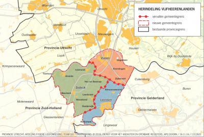 Op deze kaart kun je goed zien hoe de nieuwe gemeente Vijfheerenlanden, die in 2019 ontstaat, is samengesteld uit de fusiepartners: de gemeenten Leerdam, Vianen en Zederik. (© provincie Utrecht)