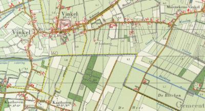 Het gebied van Vinkel is vanouds verdeeld in de buurtschappen Heesch' Vinkel of Munnekens-Vinkel in het NO, Nulands Vinkel in het W (waar later Geffens Vinkel bij komt) en in het ZW buurtschap Kaathoven, vanouds deels gem. Berlicum, deels gem. Heeswijk.