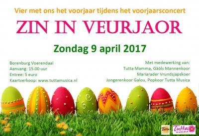 Op een zondag begin april vieren popkoor Tutta Musica en vrouwenkoor Tutta Mamma het voorjaar met een concert in Voerendaal, vergezeld van diverse andere koren uit de regio.