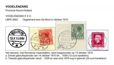 In 1910 komt er weer een nieuw stempel, nu met spelling Vogelenzang, als vanouds. De LVVA (www.lvva.eu) meldt overigens dat al vanaf 1904 aantekenstrookjes bekend zijn met deze spelling. (© Cees Janssen/http://poststempels.nedacademievoorfilatelie.nl)