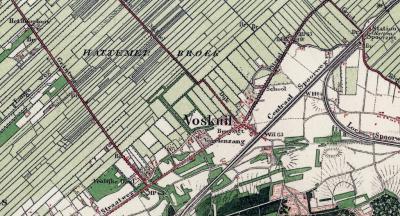 Wat tegenwoordig het dorp Hattemerbroek is, heette tot begin 20e eeuw nog Voskuil. (Het) Hattemerbroek was tot die tijd alleen nog het buitengebied NW ervan. Beide aspecten zijn op deze kaart goed te zien. (© Kadaster)