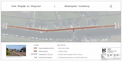 Buurtschap Vredeburg, overzicht van de verkeersmaatregelen die hier in 2020 zijn uitgevoerd. Voor nadere informatie zie het hoofdstuk Recente ontwikkelingen. (© gemeente Haarlemmermeer)