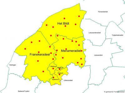 In 2018 zijn de gemeenten Het Bildt, Franekeradeel, Menameradiel en een deel van de gemeente Littenseradiel gefuseerd tot de gemeente Waadhoeke. Hier kun je zien hoe de nieuwe gemeente qua grondgebied is samengesteld.