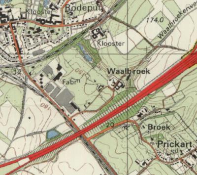 Pas in de jaren 1960 zien we op kaarten de plaatsnaam Waalbroek verschijnen, voor het N deel van wat voorheen Broek heette. Het Z deel blijft Broek heten. (© Kadaster)