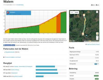 Een handige site voor 'bergbeklimmende wielrenners' is Klimtijd.nl, waar deze per traject o.a. kunnen bekijken waar de lastige stukken zitten, in bijv. Walem, zodat men zich goed kan voorbereiden. (© www.klimtijd.nl)