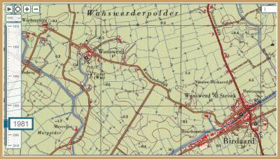 Op deze kaart van vlak voor de herindeling van 1984 is de voorheen buurtschap, inmiddels het dorp Wanswerd aan de Streek nog als zodanig te zien. In 1984 is het dorp toegevoegd aan het dorp Burdaard. (© Jan Dijkstra, Houten)