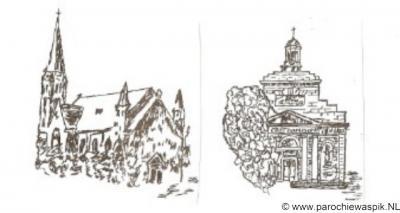 Waspik, tekeningen van de katholieke kerken van Waspik-Boven en Waspik-Beneden